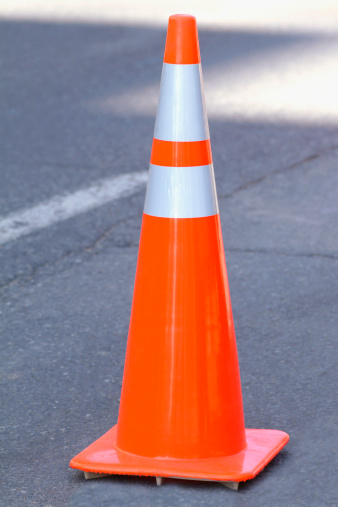 Orange cone for construction site